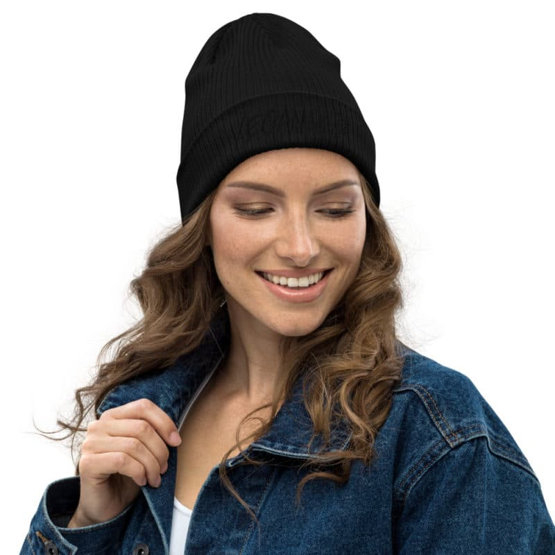 Vegan For The Planet Organic Ribbed Beanie
